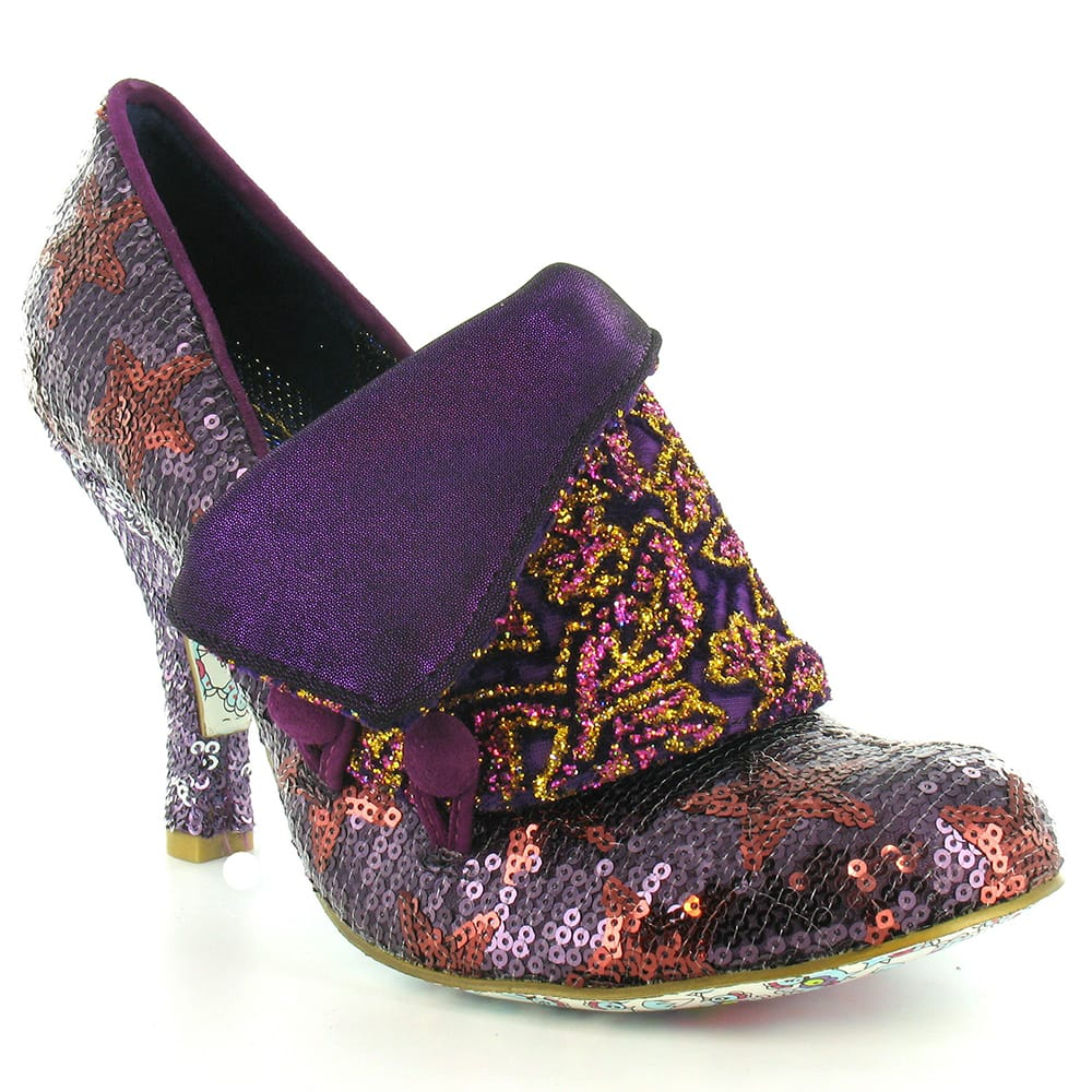 Irregular Choice Flick Flack Womens Sequinned Court Shoes - Purple & Gold