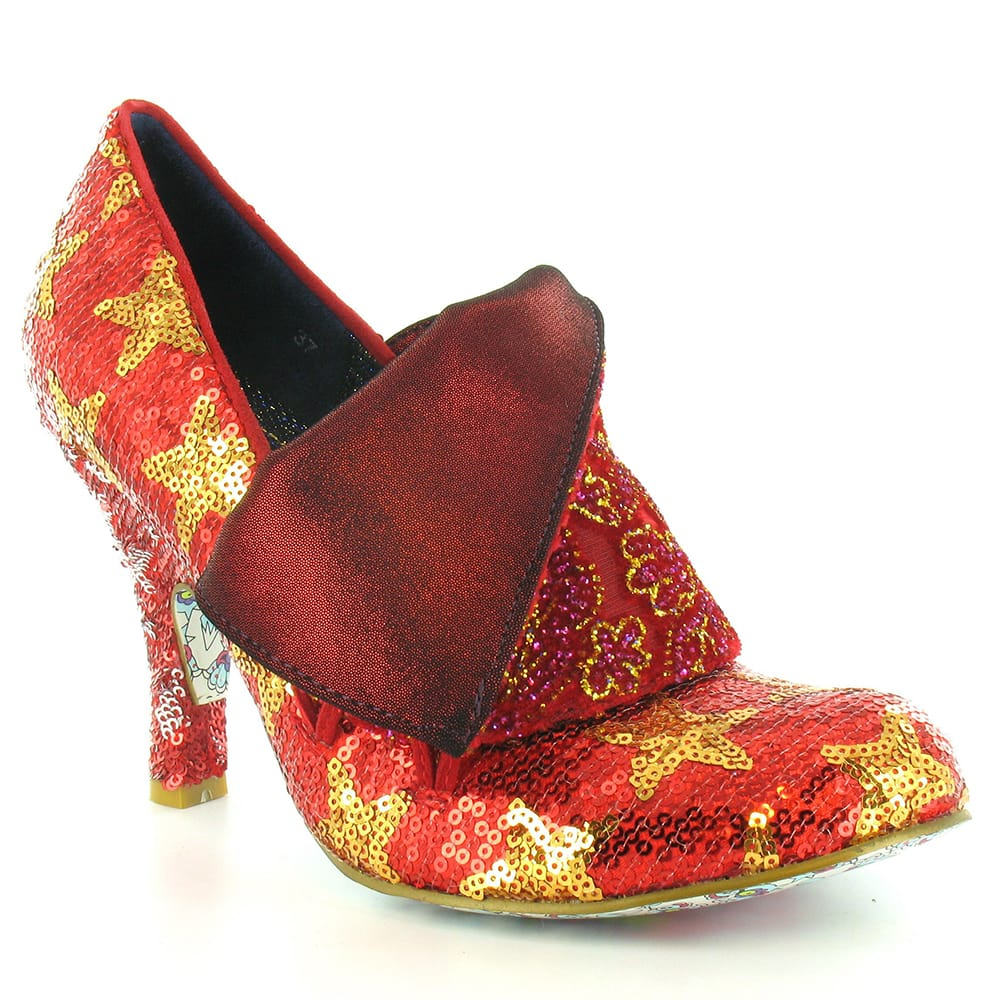 Irregular Choice Flick Flack Womens Sequinned Court Shoes - Red & Gold