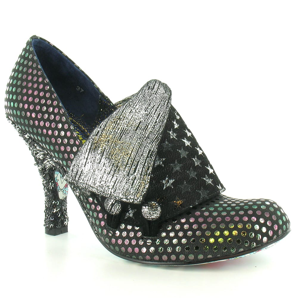 Irregular Choice Flick Flack Womens Shimmering Court Shoes - Black & Silver