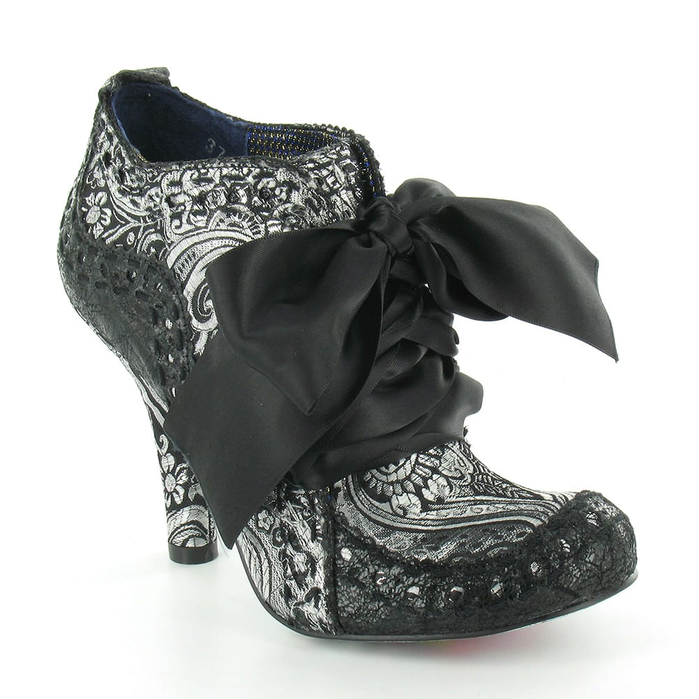 Irregular Choice Abigails Party Womens Leather And Brocade 4-Eyelet Court Shoes - Black + Silver