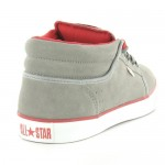 Converse 125376C Silo Mid Mens Suede Leather Low Cut Skate Boots - Light Grey & Red