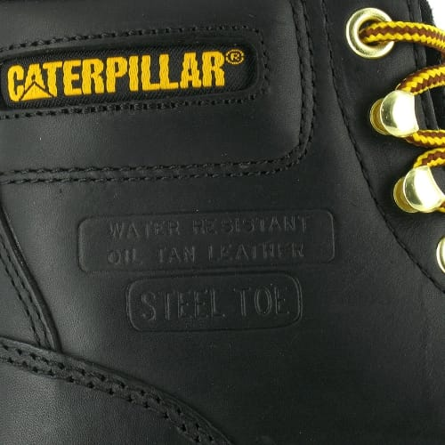 "The full leather uppers are proudly stamped ""Water Resistant - Oil Tan Leather"" and ""Steel Toe""."