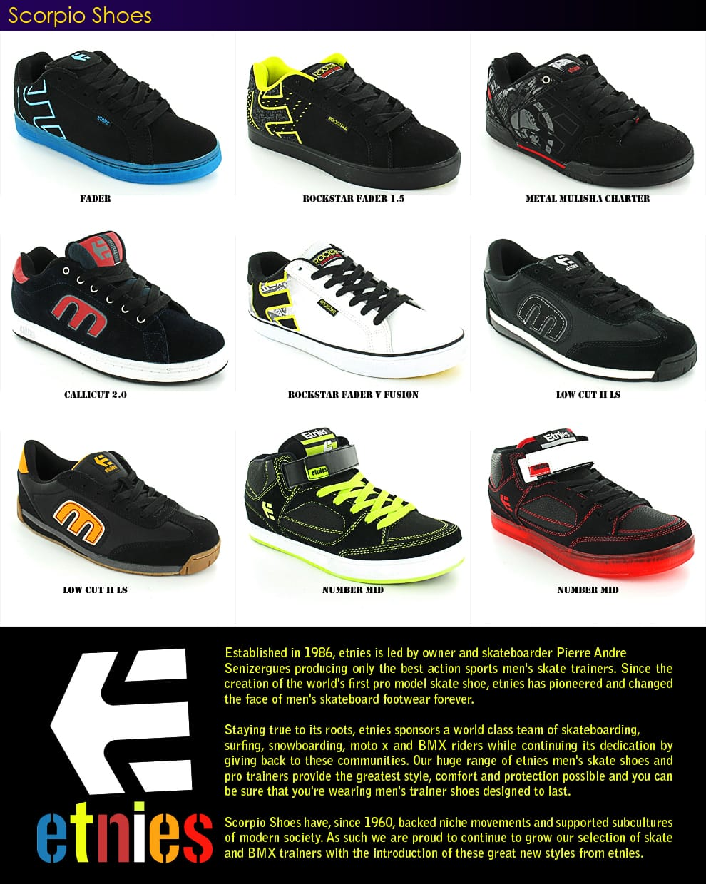 Etnies Skateboard BMX Trainers Available at Scorpioshoes.com