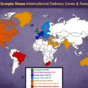 Scorpio Shoes Fast & Free UK Delivery - Rates & Zones Map