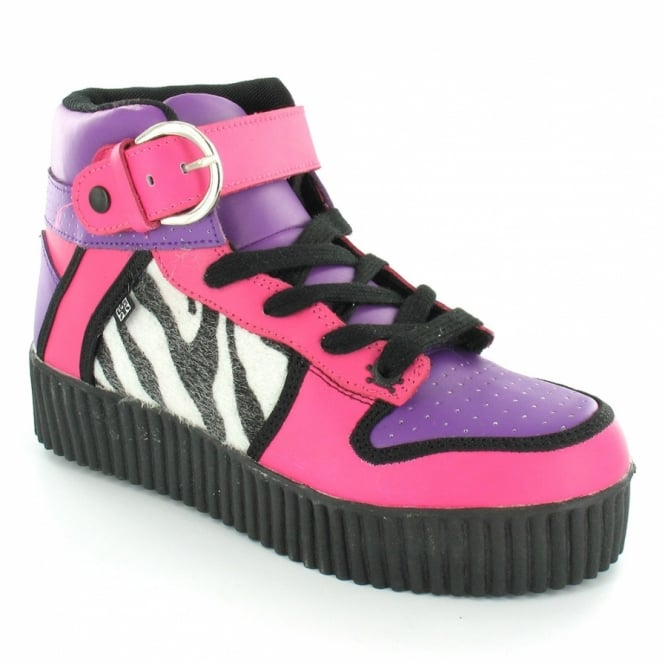 TUK A7609 Women's High Top Creepers - Pink + Purple