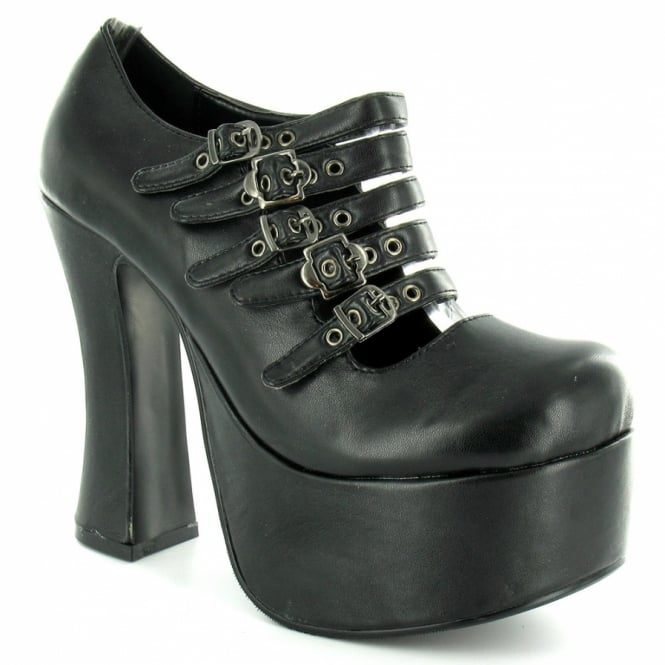 5b571d6a511 TUK Tuk A7811L Womens Super Platform Buckle Shoes - Black - High ...
