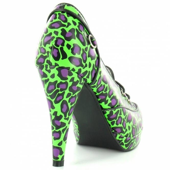 606ececf597 TUK A7820L Womens PU High Heel Leopard Print Platform Shoe - Green ...