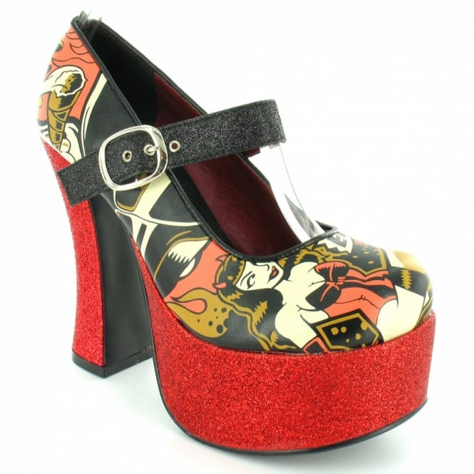 783a922896a TUK A7905L Womens Hot Rod Glitter High Heel Super Platform Shoes - Black +  Red