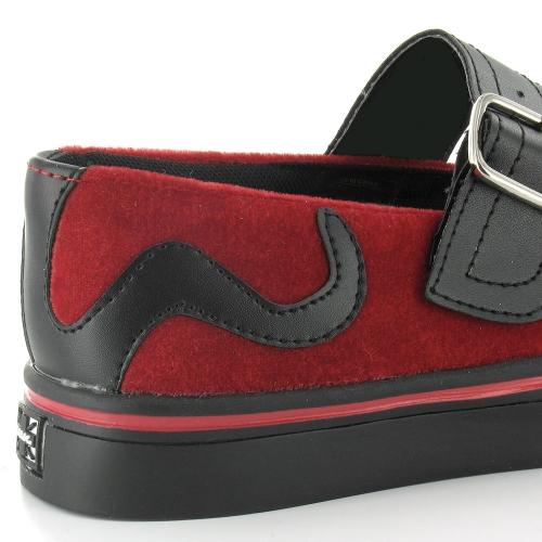 TUK A7984L Velvet Bow Kitty Womens Mary Jane Shoes - Red & Black