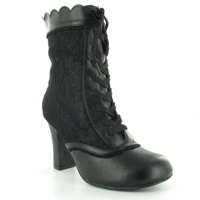 TUK A7999L Baby Doll Womens 9-Eyelet Lace Ankle Boots - Black