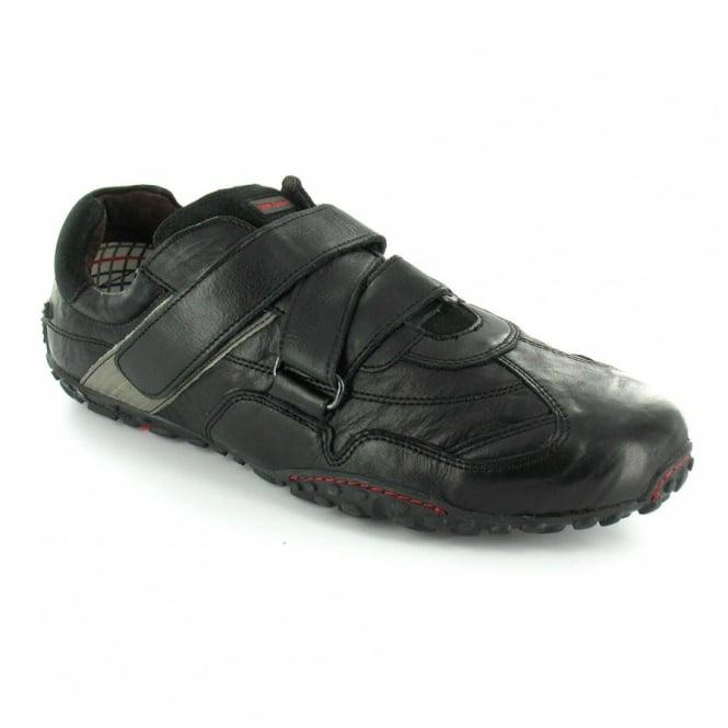 meet 19e02 d612e Eddy Mens Waxy Leather Casual Trainer Shoes - Black