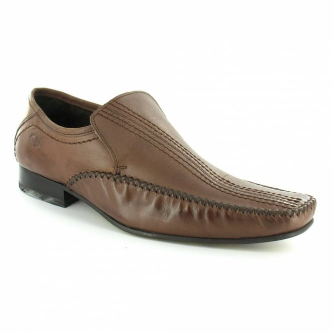 new style 15fc8 07775 Encore Mens Waxy Leather Slip-On Loafer Shoes - Brown