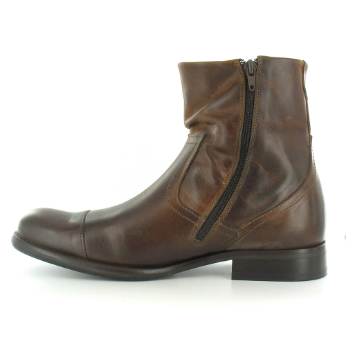 Base London Keystone Mens Leather Zip Ankle Boots - Tan Brown