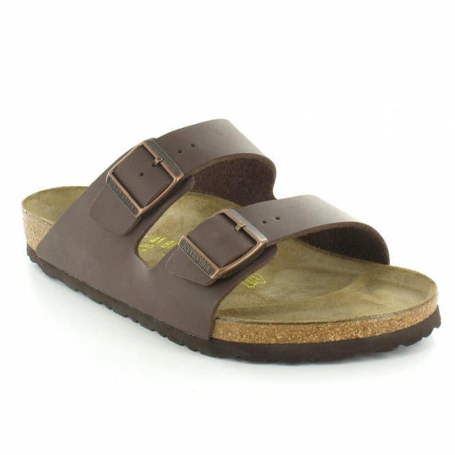 5057e2ddf120e Birkenstock Arizona Mens Twin Strap Flat Mule Sandals - Brown