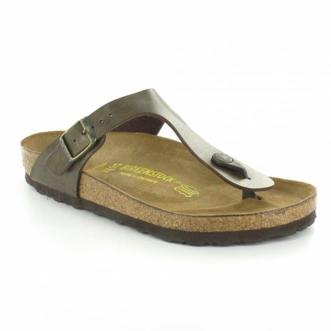 Birkenstock Gizeh Womens Flat Toe-Post Mule Sandals - Gold Brown e5ca9c1201