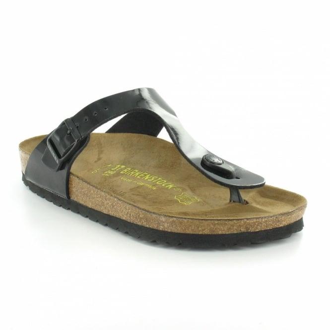 c18592d9ea6c Birkenstock Gizeh Womens Flat Toe-Post Mule Sandals - Black Patent