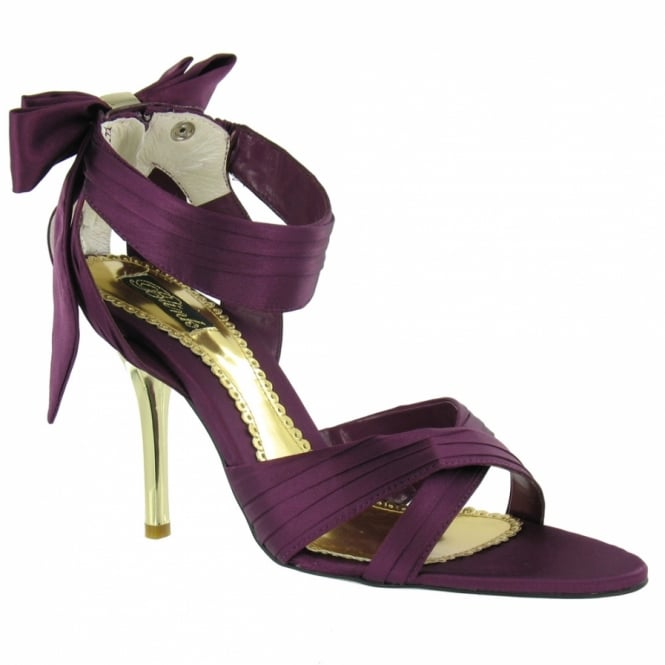Blink Womens Satin Strappy Bow Sandals - Purple + Gold