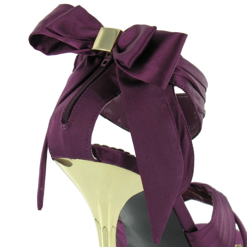 Blink Blink Womens Satin Strappy Bow Sandals Purple