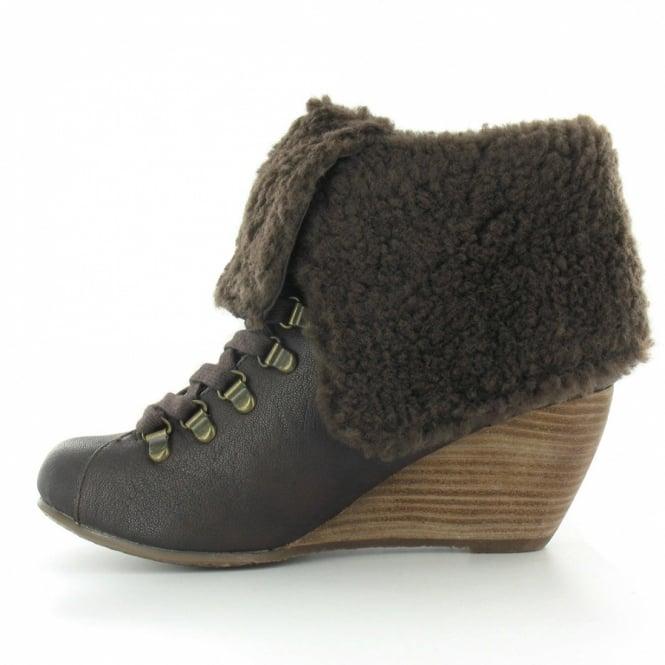 74b72e0b2eb Banker Womens PU Fold Down Faux Sheepskin Wedge Heel Ankle Boots - Dark  Brown
