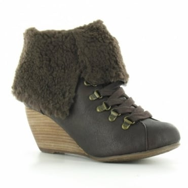 BlowFish Banker Womens PU Fold Down Faux Sheepskin Wedge Heel Ankle Boots - Dark Brown