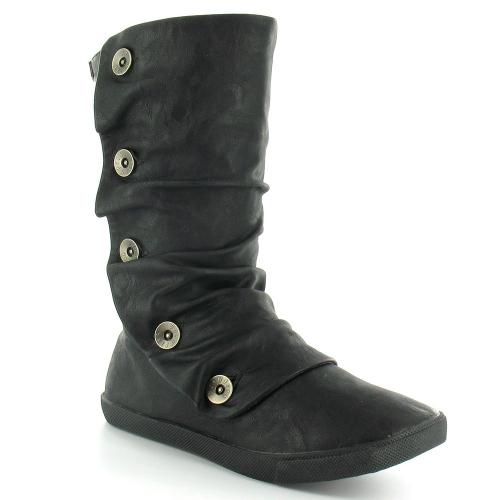 blowfish hamish womens relaxed pu flat mid calf boots black
