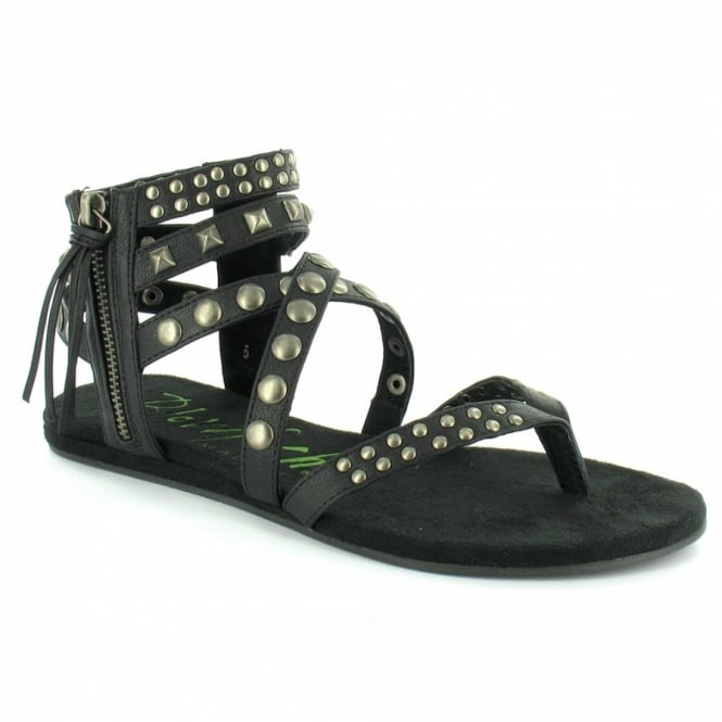ab42b1d85 BlowFish Laco Womens Roman Gladiator Studded Toe Post Sandals - Black