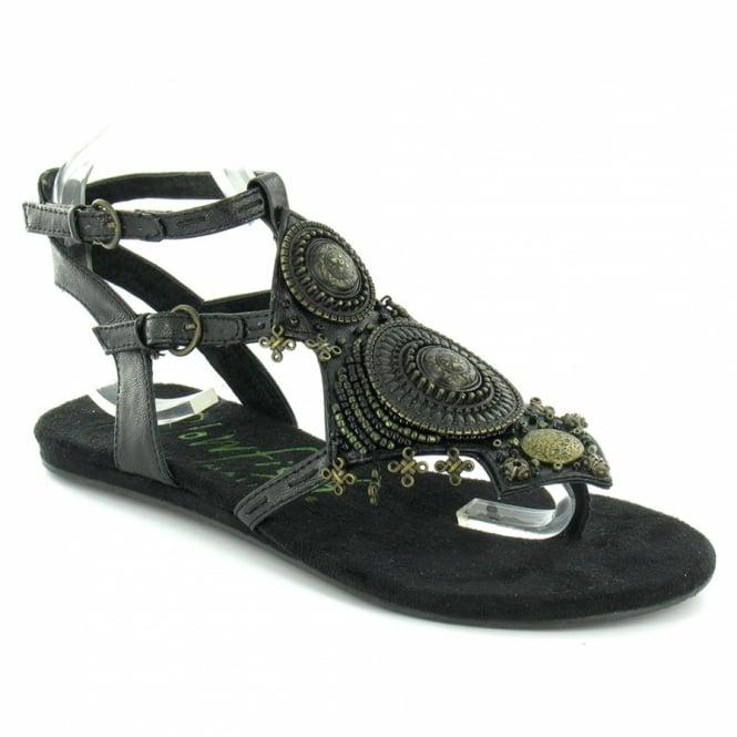 2b74063b126c3 BlowFish Latin Womens Strapped Flat Sandals - Black - Womens from ...