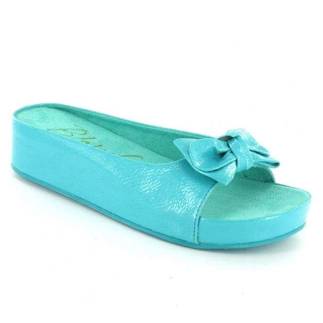 Blowfish Remix Womens Patent Wedge Sandals Turquoise