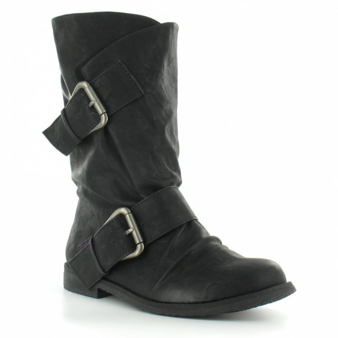 BlowFish Tribeca Womens PU Wrap Over Two Buckle Pull-Up Mid-Calf Boots - Black