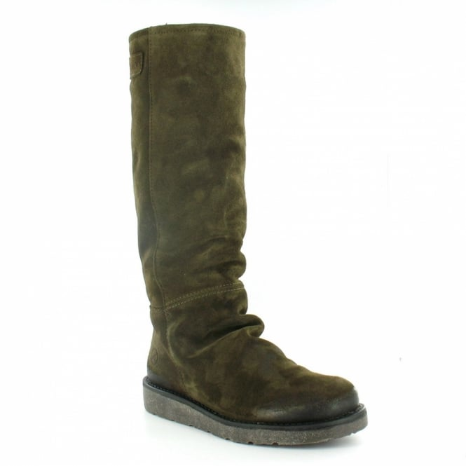 0f54542f26b Bronx 13285 Womens Suede Leather Knee-High Pull-Up Boots - Army Sage Green