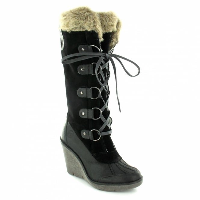 variety design huge inventory offer discounts 13743-A Womens Suede Leather Faux Fur Trim Wedge Knee-High Boots - Black