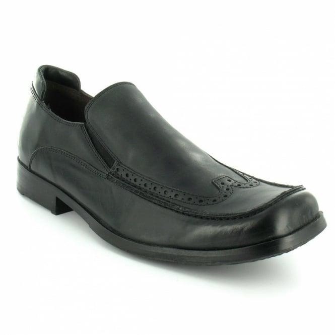Bronx 63527 Mens Leather Slip On Shoes Black Formal