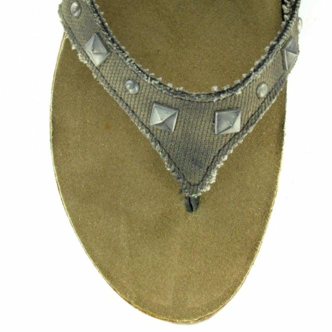 8dafd477f20ba6 Bronx 83669-D Womens Roman Gladiator Leather Canvas Sandals - Black + Army  Khaki
