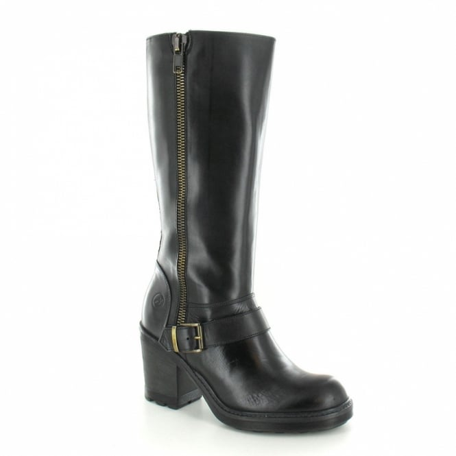 Bronx 13947-F Womens Heeled Leather Biker Boot - Black