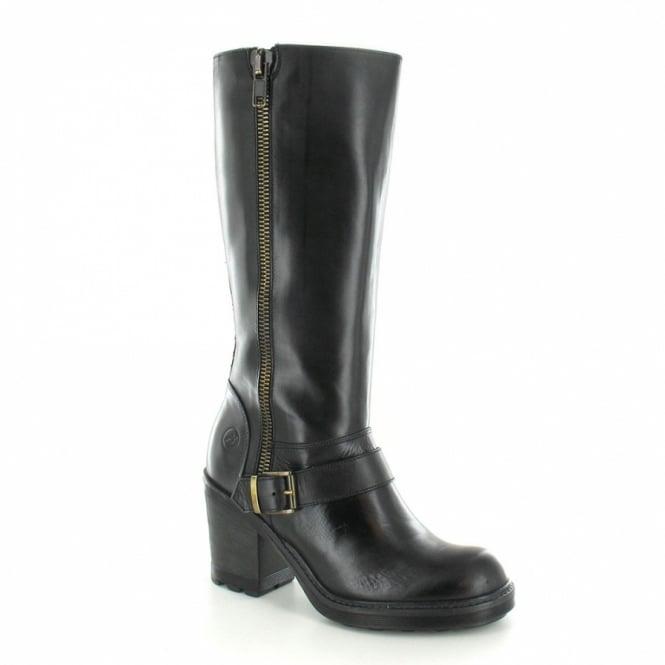 Bronx 13947-F Womens Heeled Leather Biker Boot - Black