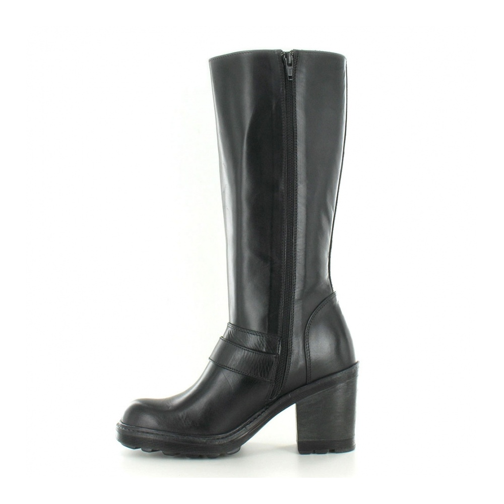 bronx 13947 f womens heeled leather biker boot in black at