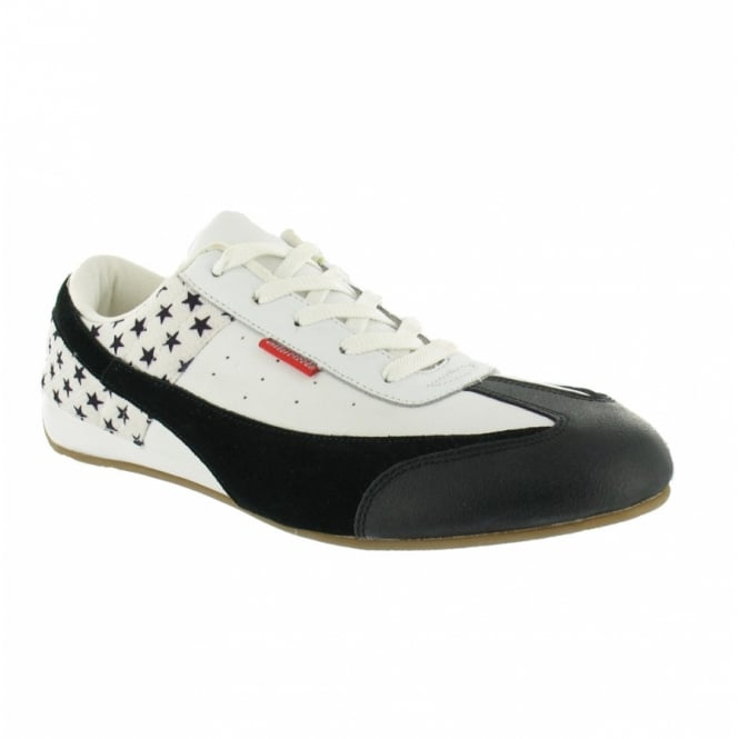 chilli pepper leather casual trainers black