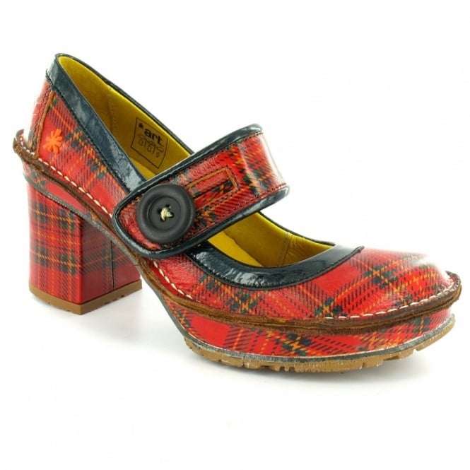 Art Tate Shoes art company art tate w700 womens retro tartan leather heels - red +