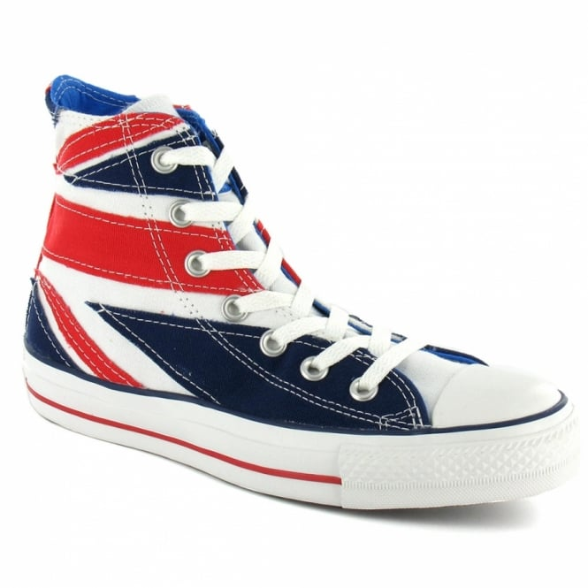 Converse 108833 Who Flag Unisex Chuck Taylor All Star Hi-Top Canvas Basketball Boots - Red, White + Blue