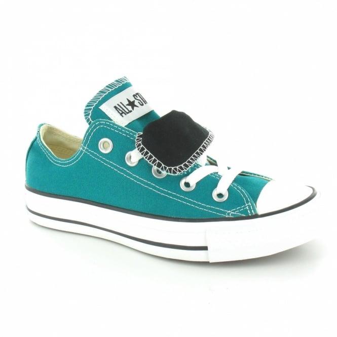 3027752d341b Converse 132370C Womens Canvas Chuck Taylor Double Tongue Oxford Shoes -  Parasailing Green   Black