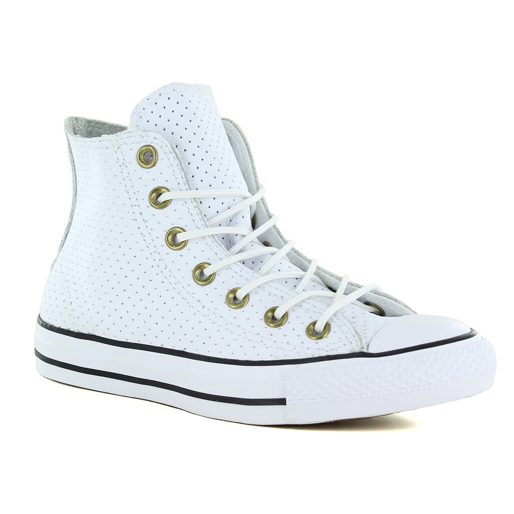 d879a6c6eac7e 151249C Chuck Taylor Leather Unisex Hi Top Basketball Boots - White/Biscuit