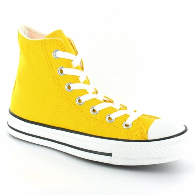 f993960f700 Converse Chuck Taylor All Star 114068 Womens Canvas Hi Basketball Boots -  Runner Yellow + White