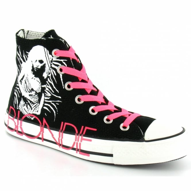 Converse Chuck Taylor All Star Blondie 113880 Womens Canvas Hi Basketball Boots - Black + White