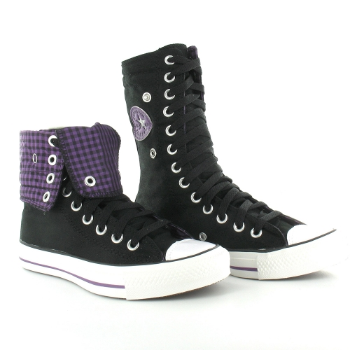 f0509d4b6dac5b Converse All Star 525989C Knee Hi XHi Womens Basketball Boots - Black  amp   Purple