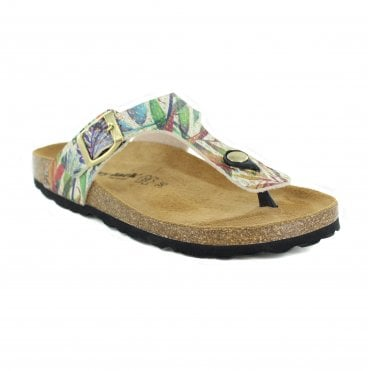 Country Jack Abia Womens Sandal Toe Post - Cream Multi