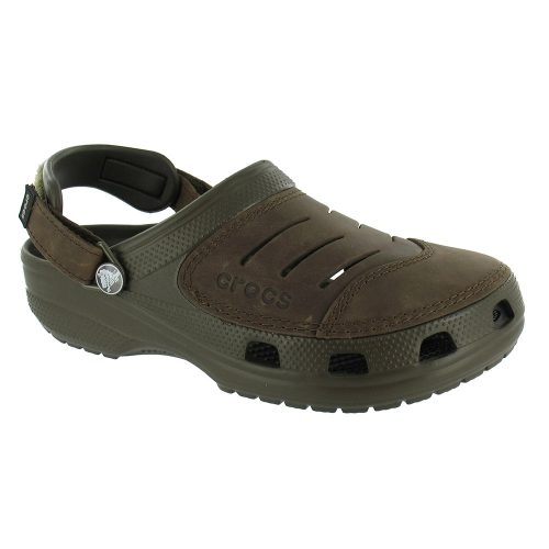 Crocs Yukon Mens Leather Sandals Chocolate Brown
