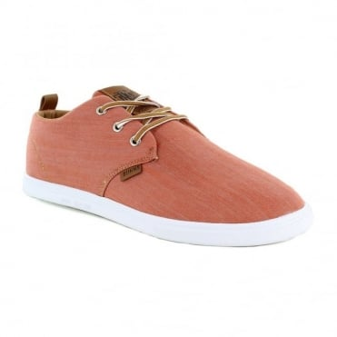 Djinns Low Lau Mens Canvas 3-Eyelet Casual Shoes - Burned Orange