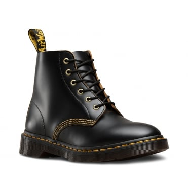 Dr Martens 101 Arc Unisex 6-Eyelet Leather Boots - Black