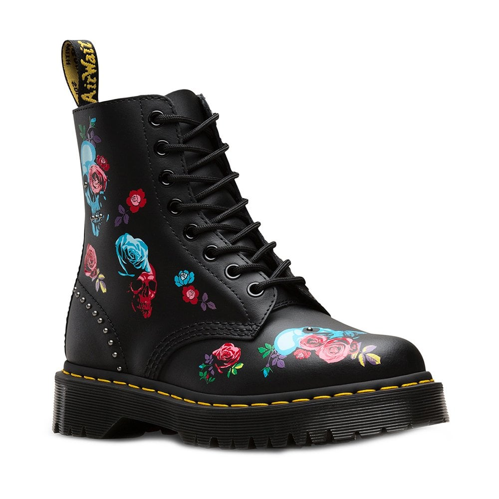 Dr Martens Dr Martens 1460 Pascal Bex Rose Womens 8 Eyelet Leather Boots Black Multi
