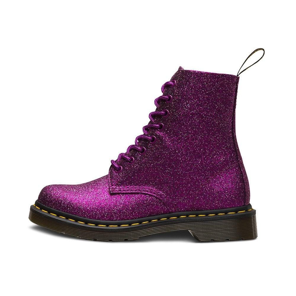 1460 Pascal Glitter Womens 8 Eyelet Boots Purple Multi